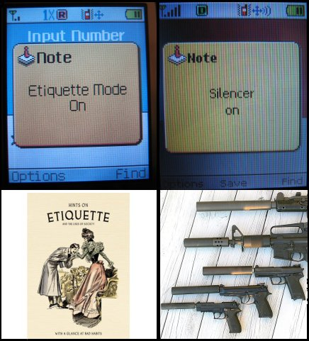 Etiquette book and guns with silencers